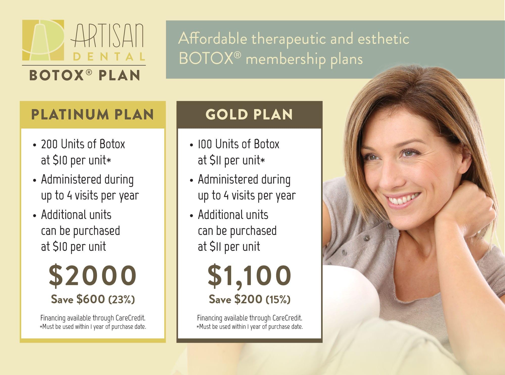 Artisan Dental Botox plan